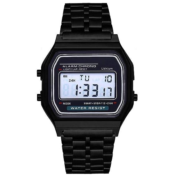 Reloj de Pulsera para Hombre Reloj de Pulsera Digital de Acero Inoxidable con Banda Deportiva