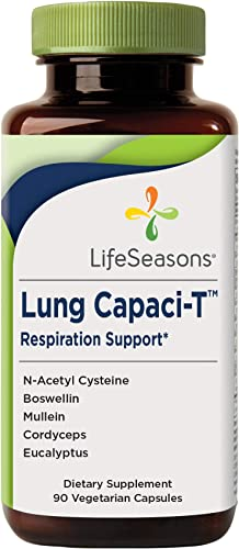 LifeSeasons – Lung Capaci-T – Lung and Respiratory Support Supplement – Helps Reduce Phlegm – with Ginkgo Biloba, Eucalyptus, N-Acetyl Cysteine, Mullein, Boswellin – 90 Capsules