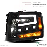 Topline Autopart Black Housing Full LED Sequential Tri Projector Headlights Signal Amber Reflector nb For 07-13 Chevy…