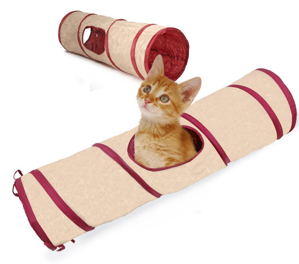 WOWOWMEOW Pet Cat Foldable Play Tube Tunnel Rabbit Kitty