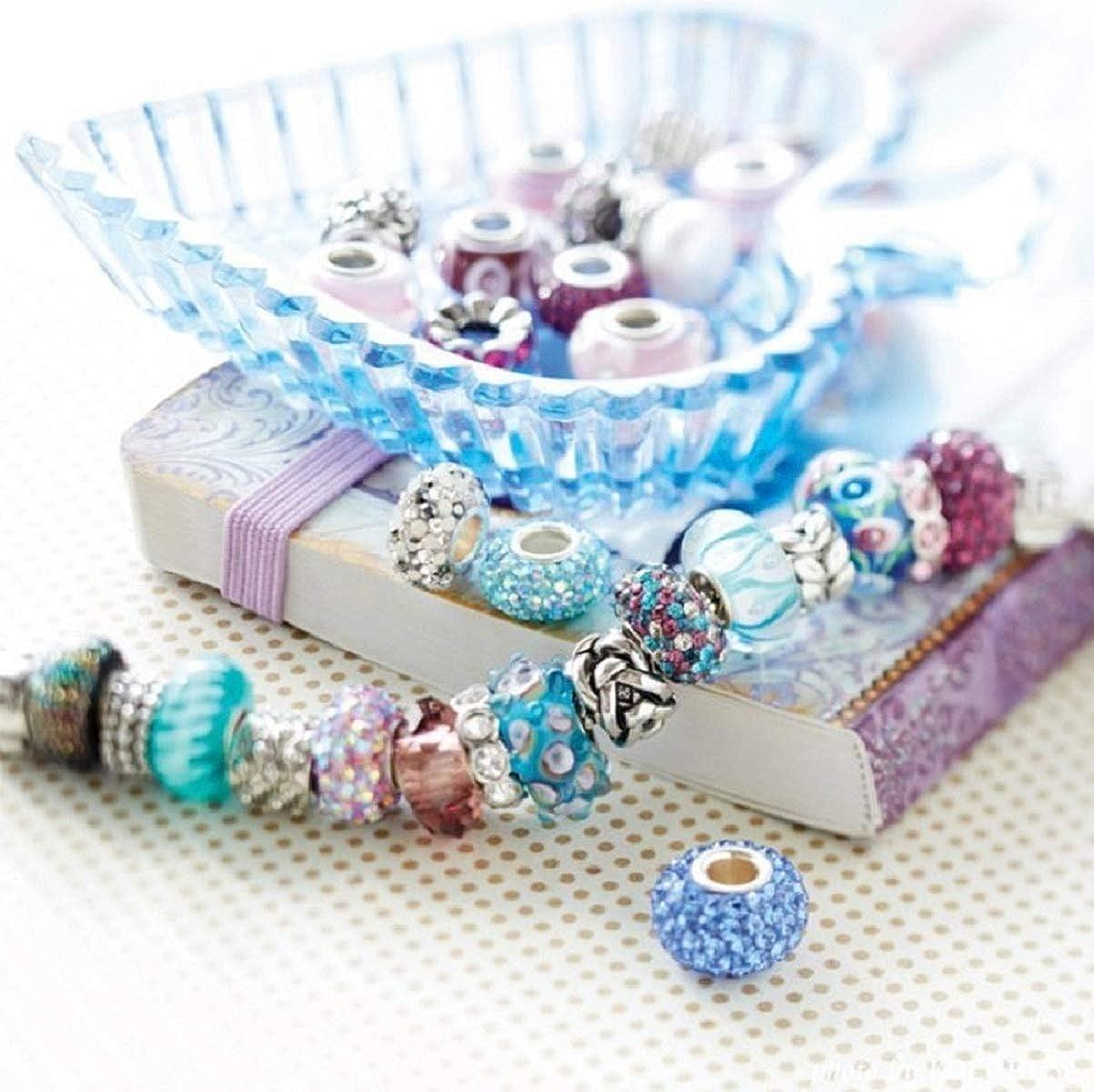 AKKi Jewelry Pendentif en acier inoxydable pour bracelet /à breloques en forme de perle Argent/é