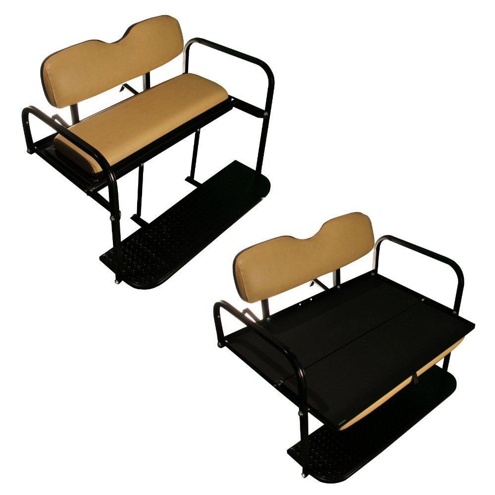 EZGO TXT Golf Cart Rear Flip Folding Back Seat Kit, 1995 And Up - All Factory Colors (Tan Cushions)