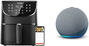 COSORI Smart WiFi Air Fryer 5.8QT(100 Recipes) with 11 Cooking Presets, Works with Alexa and Google & All-new Echo Dot (4th Gen), Smart speaker with Alexa, Twilight Blue