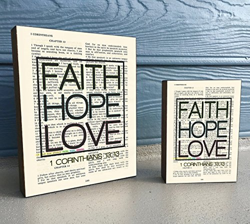 Faith Hope Love - 1 Corinthians 13:13 Vintage Bible verse Scripture Art Print on Wooden Art Block, Christian Home & Wall Decor Sign, Old Dictionary Page, Housewarming -Christmas gift for her