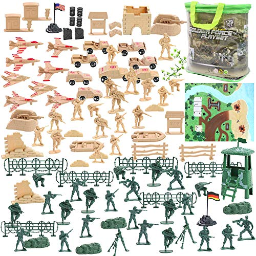 3 otters Military Figures and Accessories, 120 PCS Army Men Military Soldier Playset Military Aircraft Car Military Map Pretend WWII Army Base
