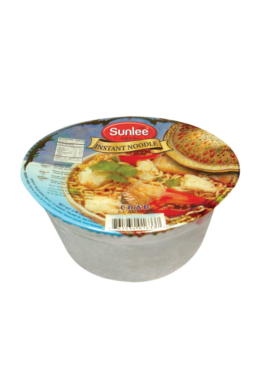 Sunlee Thai Instant Noodle - Crab Flavor, Easy to Prepare Food Great for Traveling, Backpacking, and Hiking (70 g)