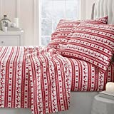 4 Piece Red White Reindeer Stripes Theme Sheet Queen Set, Elegant Geometric Stripe-Inspired, Animal Print Bedding, Fully Elastic Fitted, Deep Pocket, Hypoallergenic, Soft & Warm Cotton, Microfiber