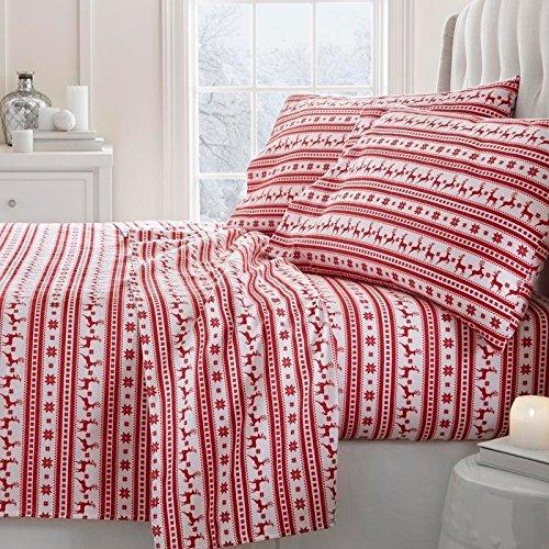 4 Piece Red White Reindeer Stripes Theme Sheet Queen Set, Elegant Geometric Stripe-Inspired, Animal Print Bedding, Fully Elastic Fitted, Deep Pocket, Hypoallergenic, Soft & Warm Cotton, Microfiber