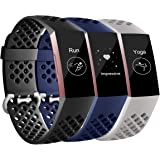Maledan Bands Compatible with Fitbit Charge 3 and Fitbit Charge 4, Breathable Sport Band Replacement Wristbands with Air…