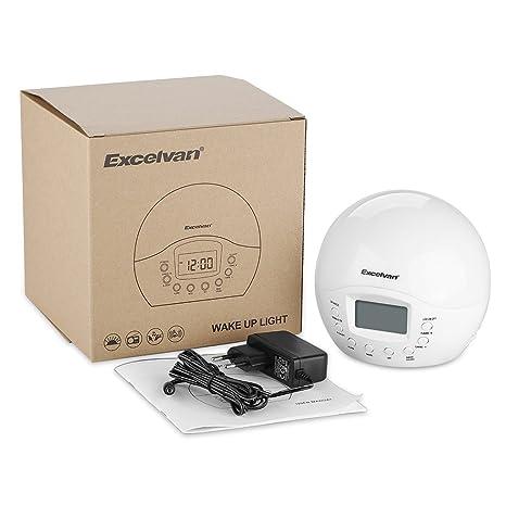 Excelvan - Despertador con Luz Wake Up Light Simulación del Amanecer (Pantalla LCD, 4 Sonidos Naturales, Radio FM, Reloj con Alarma): Amazon.es: Iluminación