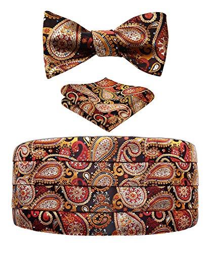 Men's Floral Paisley Silk Cummerbund & Self Bowtie and Pocket Square Set Brown ()