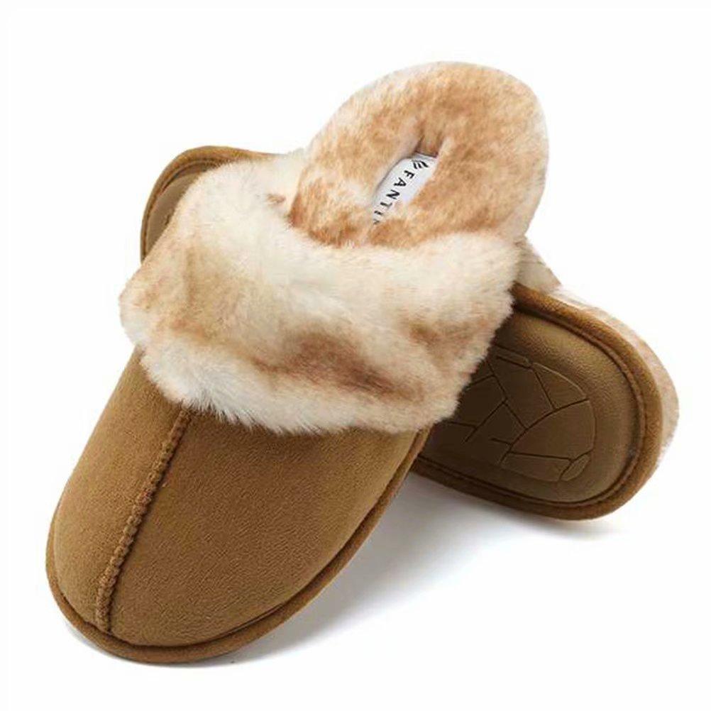 Fanture Women's Memory Foam Slippers Real Fur Lining Slip-on Clog Scuff House Shoes Indoor & Outdoor-U418WMT010-tan-F-38.39