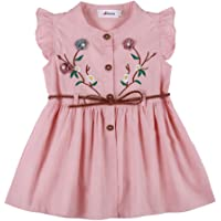 Weixinbuy Toddler Baby Girl's Embroidered Flower Cotton Party Wedding Princess Dresses 1-4 Years