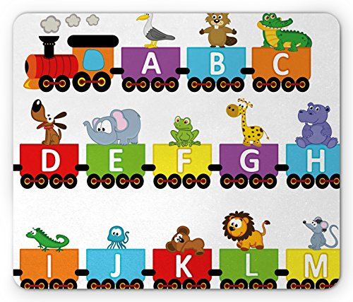 Train Mouse Pad by Lunarable, Alphabet Carriage with Corresponding Animals Albatross Beaver Iguana Koala Lion Mouse, Standard Size Rectangle Non-Slip Rubber Mousepad, Multicolor (Carriage Train)