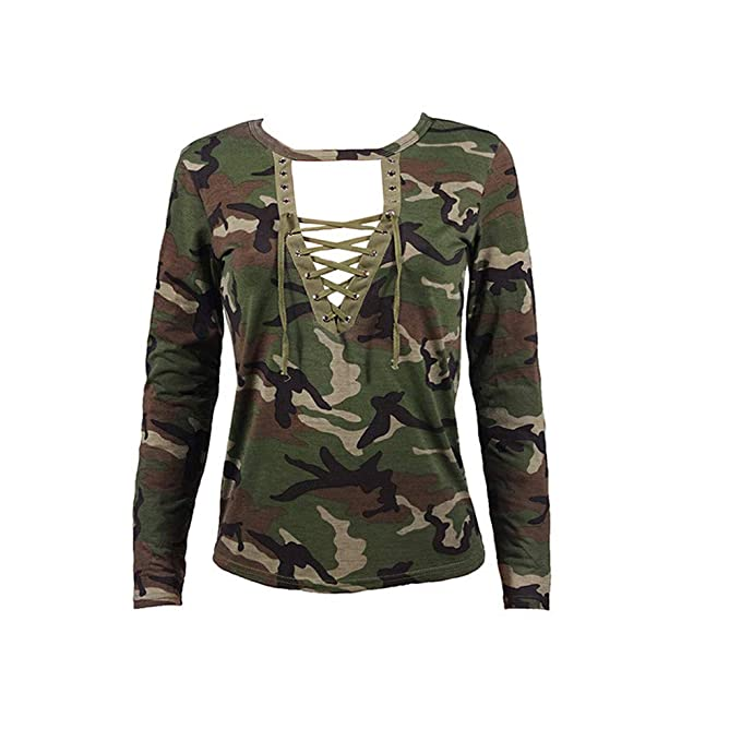 PAQOZ Fashion Women Long Sleeve Shirt Slim Casual Blouse Camouflage Print Tops at Amazon Womens Clothing store: