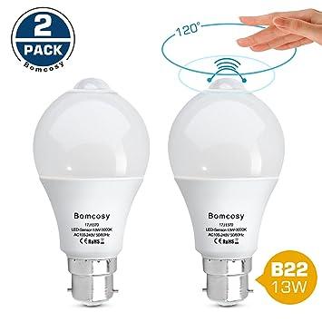Bomcosy Bombilla LED B22 13W Sensor de Movimiento Blanco Cálido 3000K PIR Equivalente a 100W Encendido/Apagado Automático para Pasillo Porche Garaje Sótano ...
