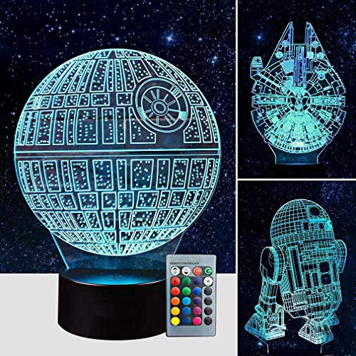 Airnogo 3D Star Wars Lamp - Star Wars Gifts - 3 Pattern&1 Base&1 Remote - Star Wars R2-D2/Death Star/Millennium Falcon - Star Wars Light - Star Wars with Remote Control - Optical Illusion Led Light ()