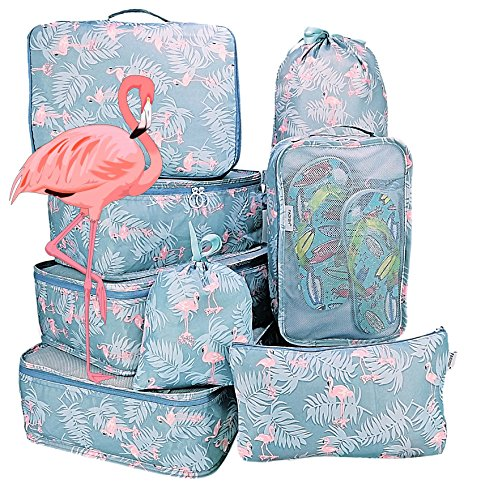 Packing Cubes Backpack Organizers Set for Carry on Travel Bag Luggage Cube (Flamingo Blue 8)