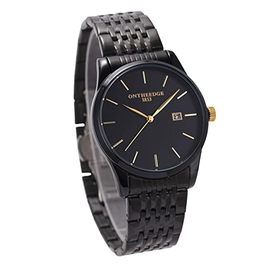VATENZONE Minimalista japonés Reloj de Pulsera de Cuarzo para Hombres Negro dial Negro Acero Inoxidable Starp Reloj Banda Fecha Pantalla de Relojes clásicos ...