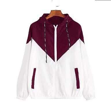 2018 Women Long Sleeve Patchwork Thin Skinsuits Hooded Zipper Pockets Coat Pullover Sweatshirt,Wine Red