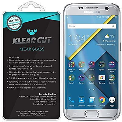 Klear Cut KlearGlass - 9H Hardness Tempered Glass Screen Protector for Samsung Galaxy S7 with Lifetime Replacements / 99.9% HD Clear / Shatterproof and Anti-Bubble Ballistic Glass