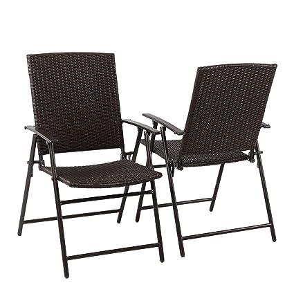 Amazon.com: PHI VILLA Patio Rattan Folding Chair Indoor Outdoor ...