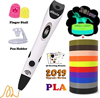 Dikale 3D Pen with 12 Colors 120 Feet PLA Filament Refills, Perfect 3D Printing Pen Gift for Kids & Adults with 250 Drawing Doodling Stencils eBooks, Non-clogging
