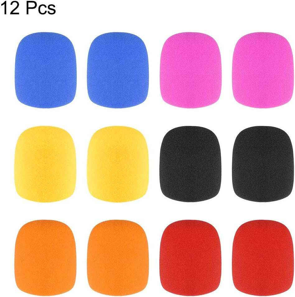uxcell 12PCS Thicken Sponge Foam Mic Cover Handheld Microphone Windscreen Pack for KTV