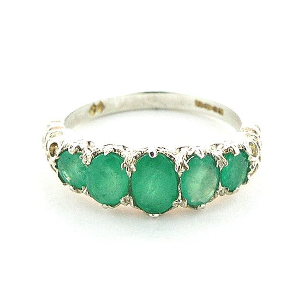 925 Sterling Silver Natural Emerald Womens Band Ring - Sizes 4 to 12 Available