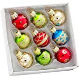 Kurt Adler Petite Treasures Multi Color Ball Christmas Ornament, Set of 9