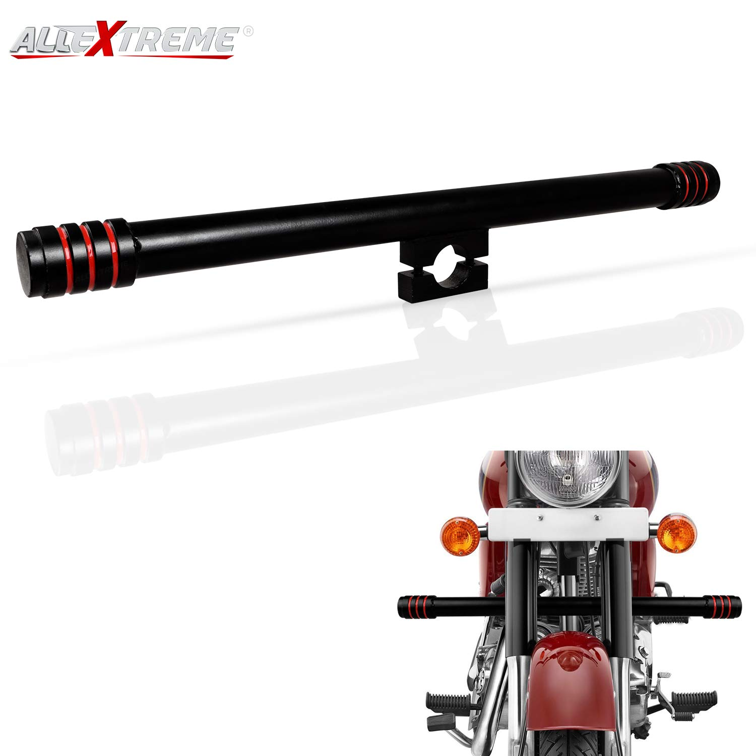 AllExtreme EXSRLB1 Single Rod Leg Guard Crash Safety Bar for Royal Enfield  Bullet Classic 350/500cc, Electra 350cc and Standard 350/500cc (Black &