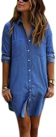 Tomayth Mujer Casual Botón Blusa Camisa Vaquera Camisa Largas ...