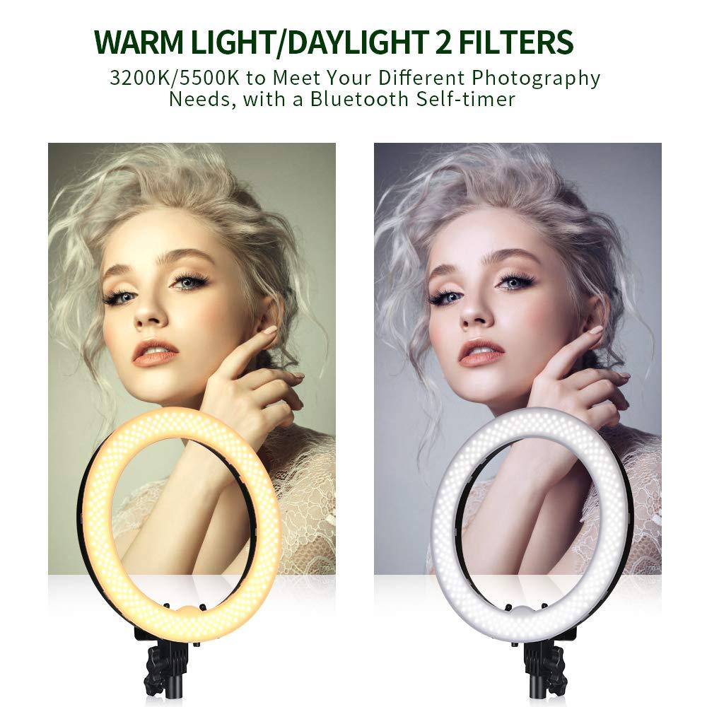 48 cm LED Anneau Lumi/ère 60W R/églable 3200-5900K FOSITAN Ring Light Bicolore Cam/éra Photo Vid/éo Eclairage Kit avec 2m Pied R/écepteur Bluetooth pour Portrait Prise de Vue Vid/éo Youtube