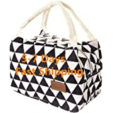 Houshelp Lunch Bag Insulated Bento Lunch Box Cute Canvas Fabric with Aluminum Tote Handbag Fordable for Women Men School…