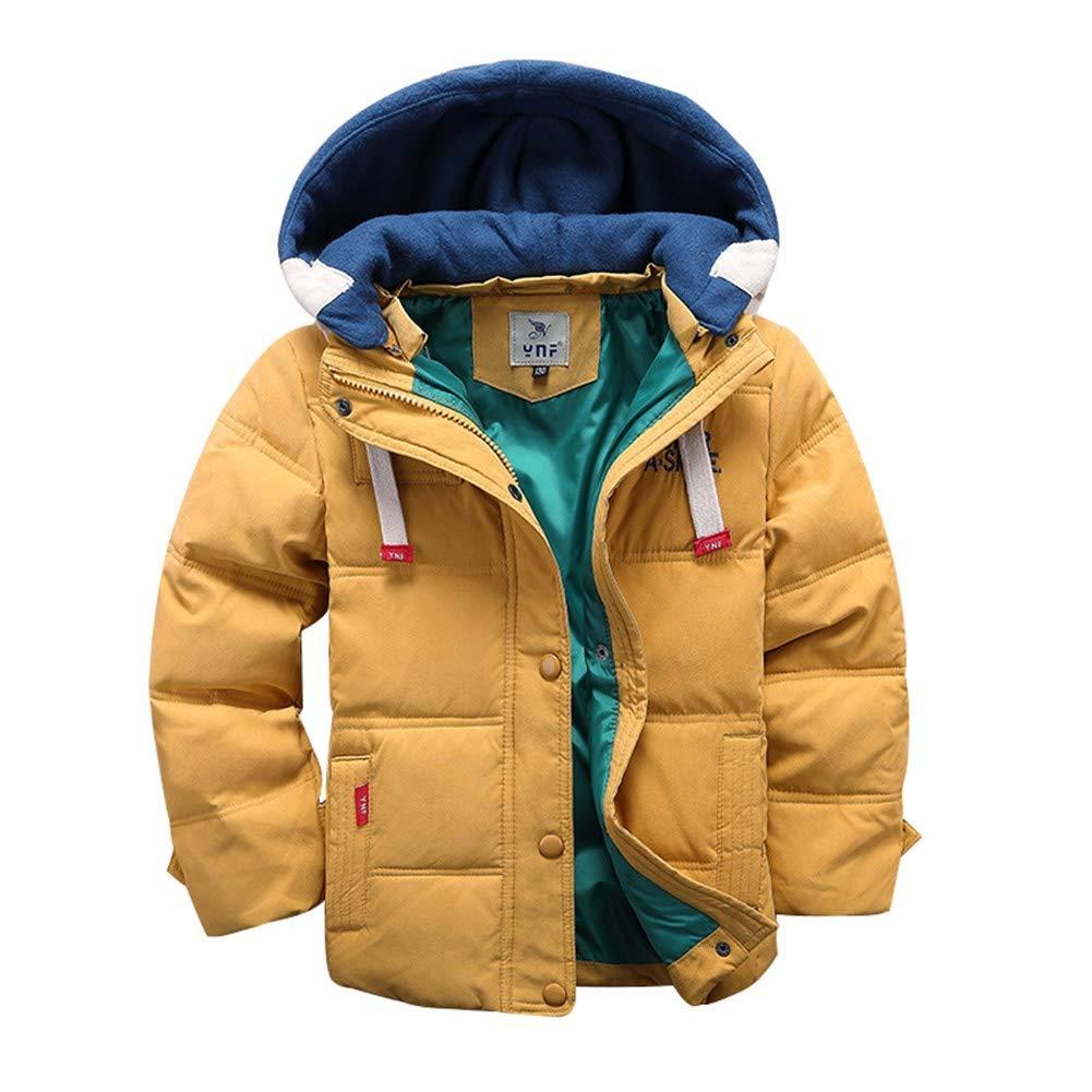 jaune 140cm RSTJ-Sjc Manteau Enfants d'hiver Unisexe Doudoune à Capuche Outwear Chaud Lettres brodées Coupe-Vent 8 Ans ou Plus