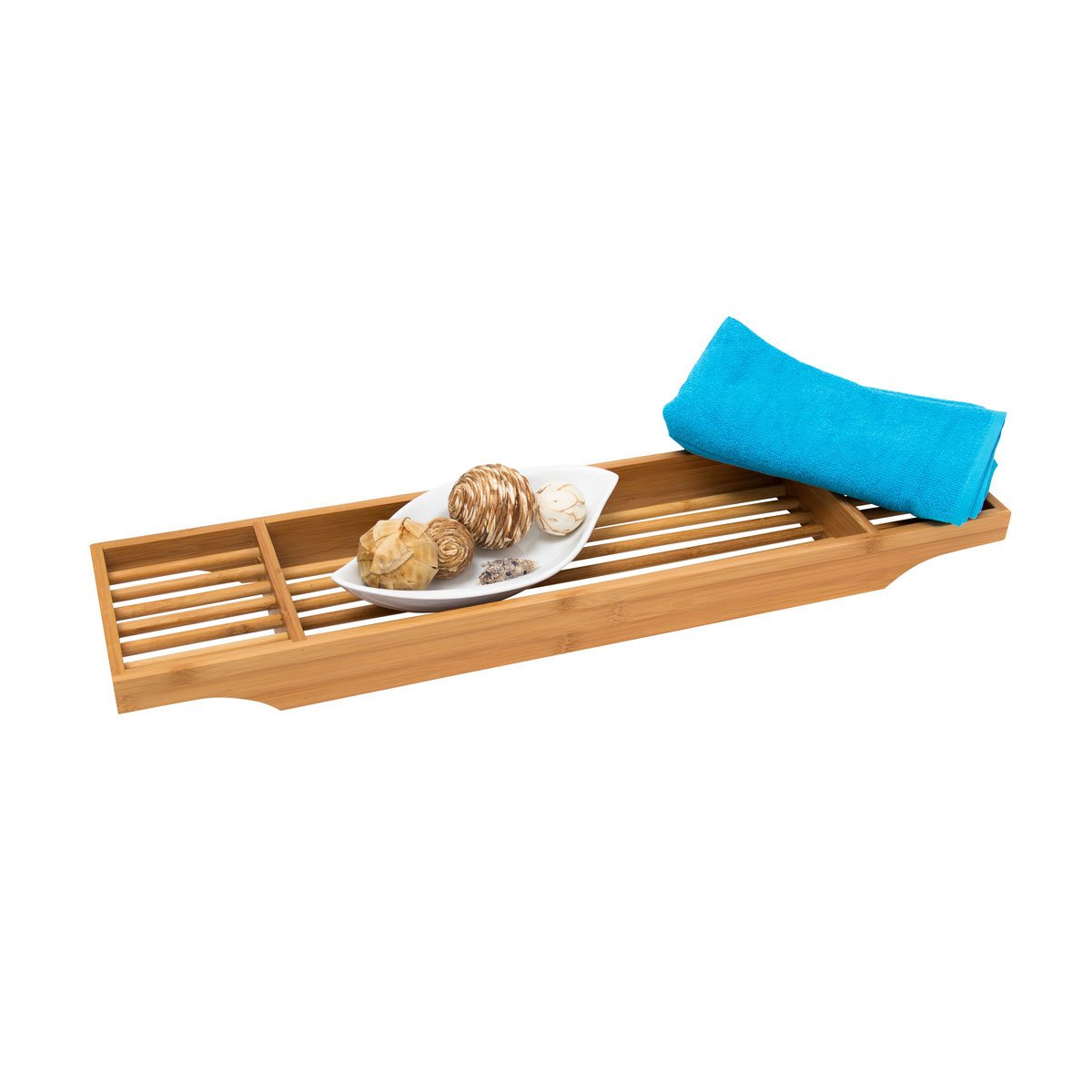 Relaxdays Bamboo Bathtub Tray with 3 Compartments, 5.5 x 70 x 16.5 cm, Decorative Wooden Bath Caddy, Brown 10019026