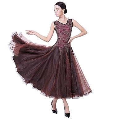 25c9eed989936 YC WELL Women Flamenco Dress Ballroom Dance Sleeveless Dresses Waltz Tango  Dance (Brown,L