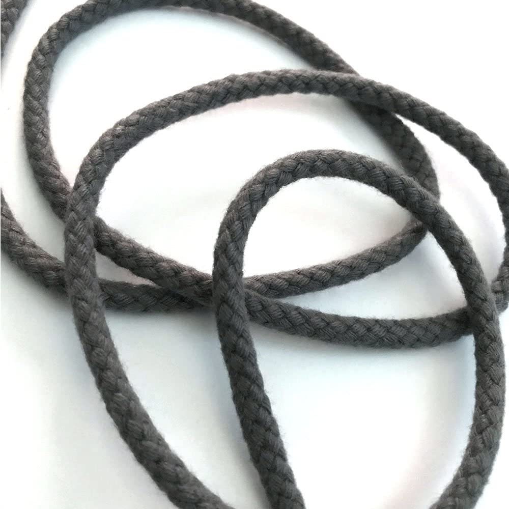 Anorx Supply Co 1//8 Charcoal Heather Grey Tubular Cotton Draw Cord String 5 Yards