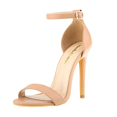 bcf1cc3caa12 Women s Open Toe Stiletto High Heel Ankle Strap Sandals for Dress Wedding  Party Evening Shoes Nude