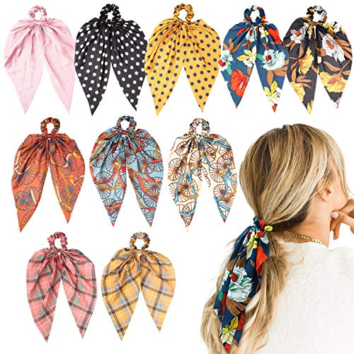 R HORSE 10 Packs Bowknot Hair Scrunchies Chiffon Floral Scrunchies Elastic Hair Ties Vintage Ponytail Holder Scarf Scrunchy Bobbles Bohemia Hair Accessories for -