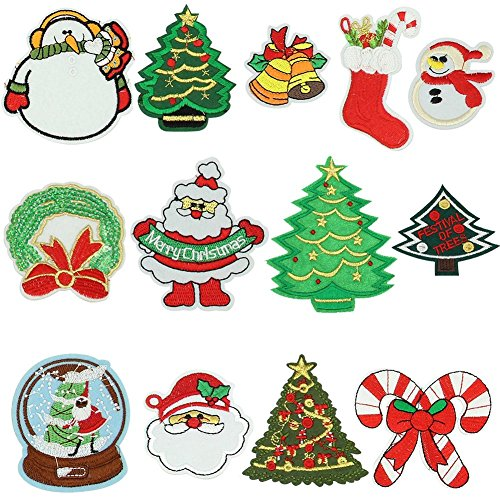 MZYARD 13 Piece Christmas Embroidery Patches On Or Sew On Patches Applique