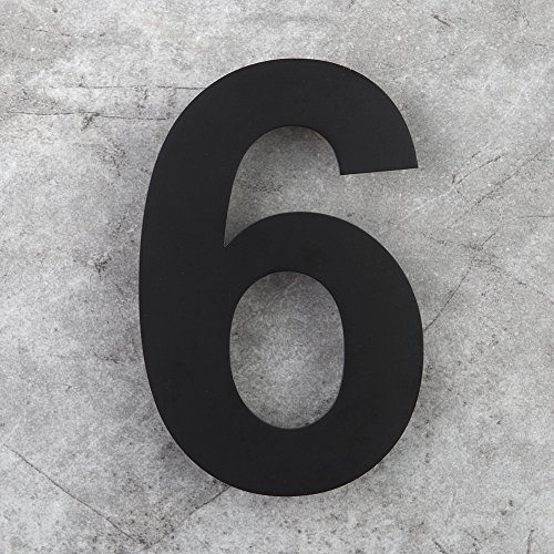 Mellewell Modern Floating House & Door Numbers Stand-Out Address Numerals 6 Inch Stainless Steel Black, Number 6 Six, HN06B-6