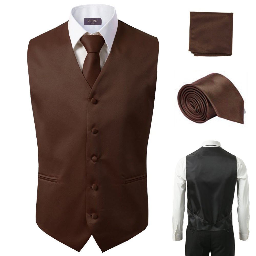 3 Pcs Vest + Tie + Hankie Men's Fashion Formal Dress Suit Slim Tuxedo Waistcoat Coat (XXXX-Large, Brown)