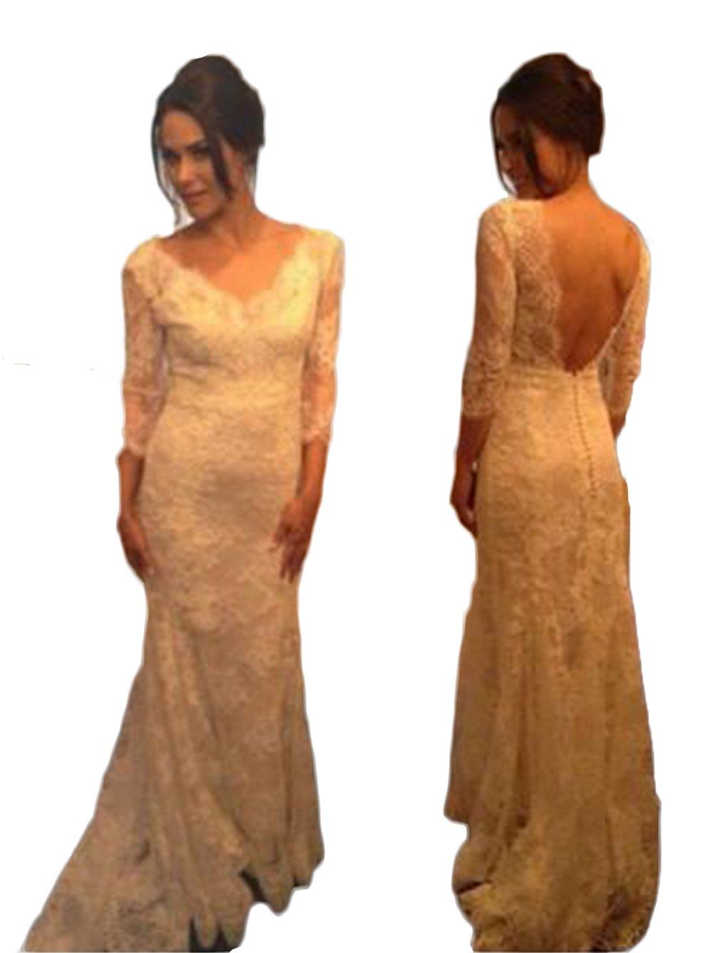 Mathena Women's 3/4 Sleeve V-Neck Sweep Train Lace Sheath Bride Wedding Dress US 10 Ivory