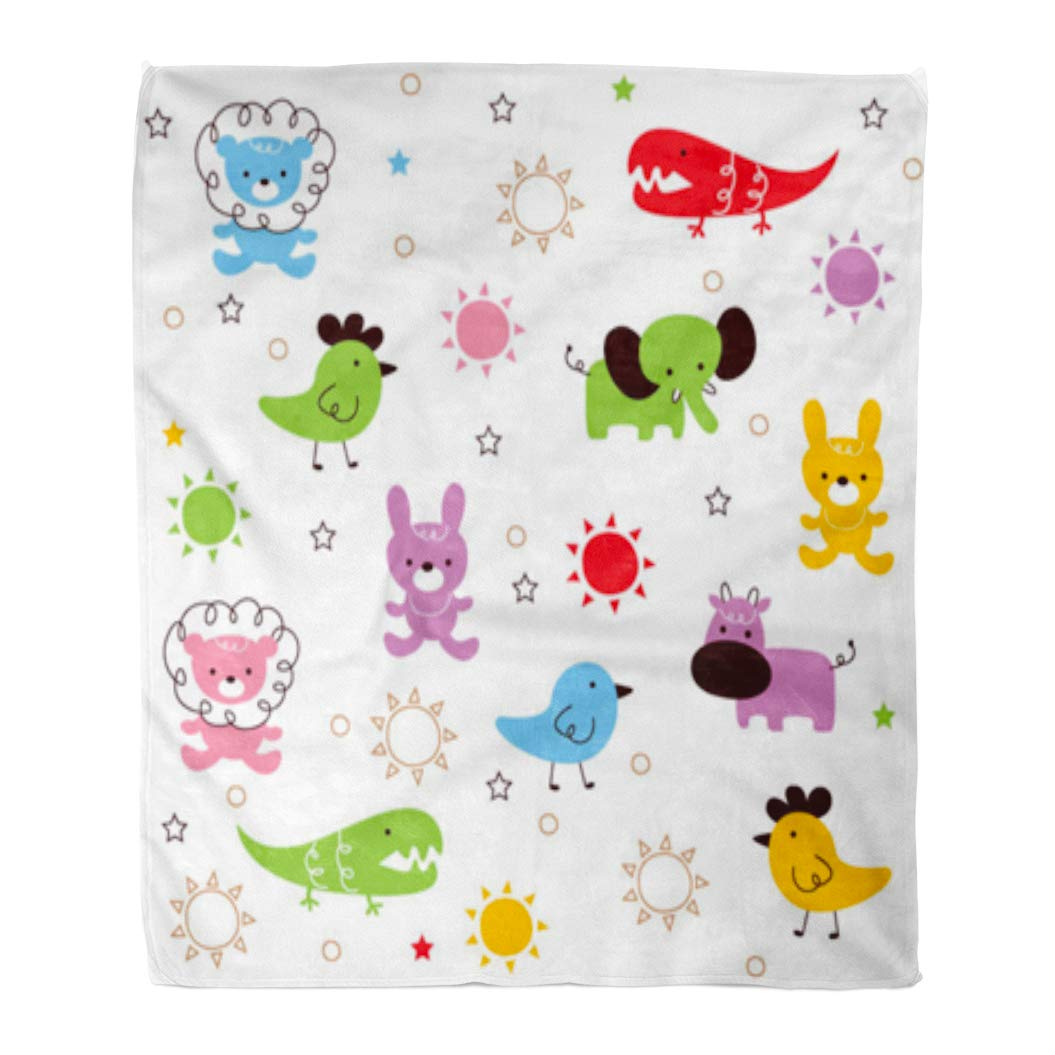 Amazon.com: Golee Throw Blanket Colorful Cute Cutie Animal ...