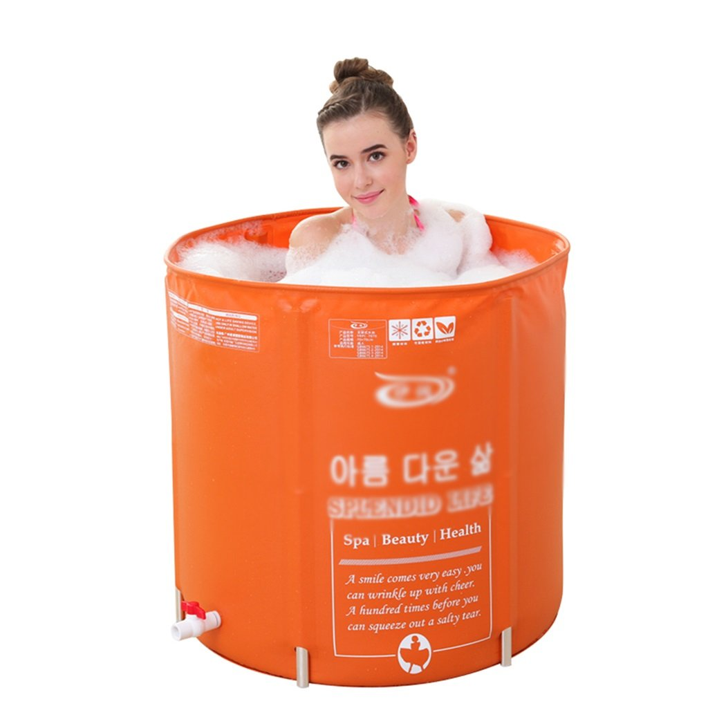 AJZGF Aufblasbare Faltbare Lederne Textur Badewanne, Tragbare Badewanne, Orange Badewanne Badewanne