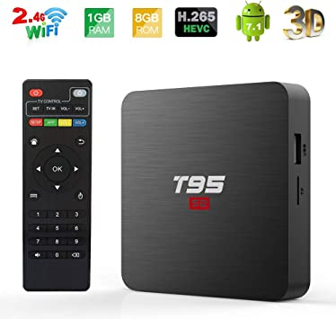 Android TV Box, T95 S2 TV Box 1GB RAM 8GB ROM, Android 7.1 amlogic s905 W Quad Core Soporte 2.4GHz WiFi h.265 4 K HDMI DLNA Mini TV Box: Amazon.es: Electrónica