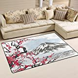 WOZO Mountain Fuji Spring Oriental Cherry Blossoms Area Rug Rugs Non-Slip Floor Mat Doormats Living Room Bedroom 60 x 39 inches Review