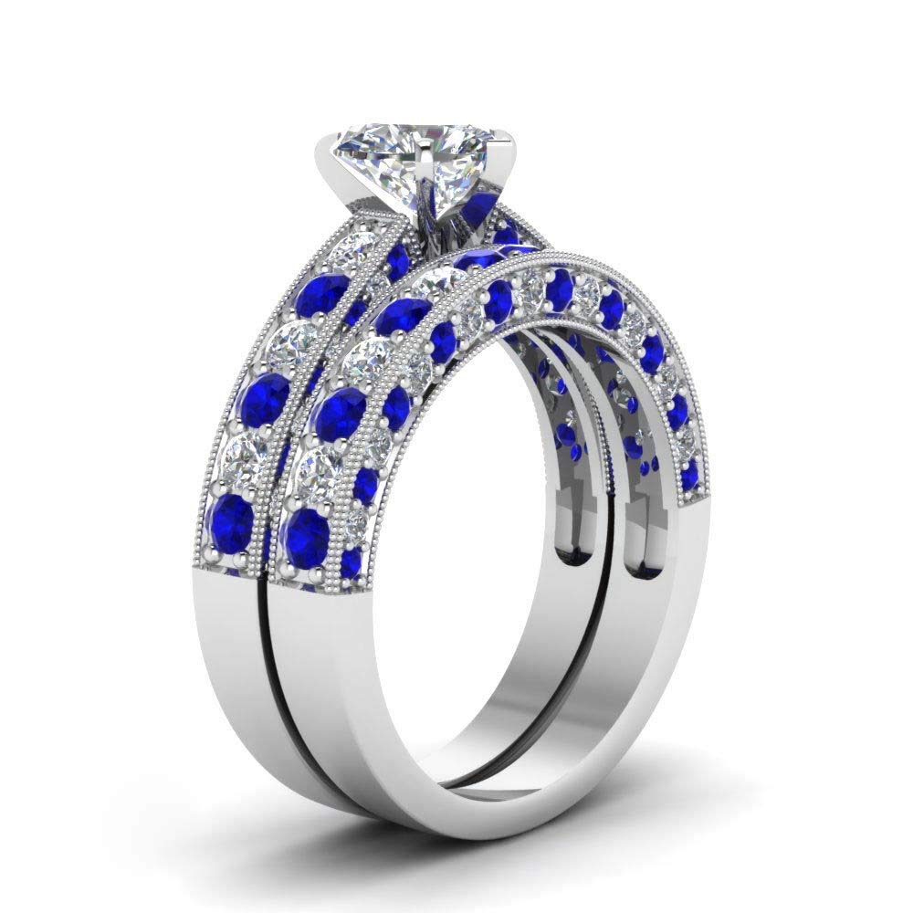 Amazon Wedding Ring Set Two Rings His Hers Couples Matching Women's 2pc White Gold Filled Heart Cz Engagement Bridal Sets Men's: Gles Chagne Wedding Rings At Websimilar.org