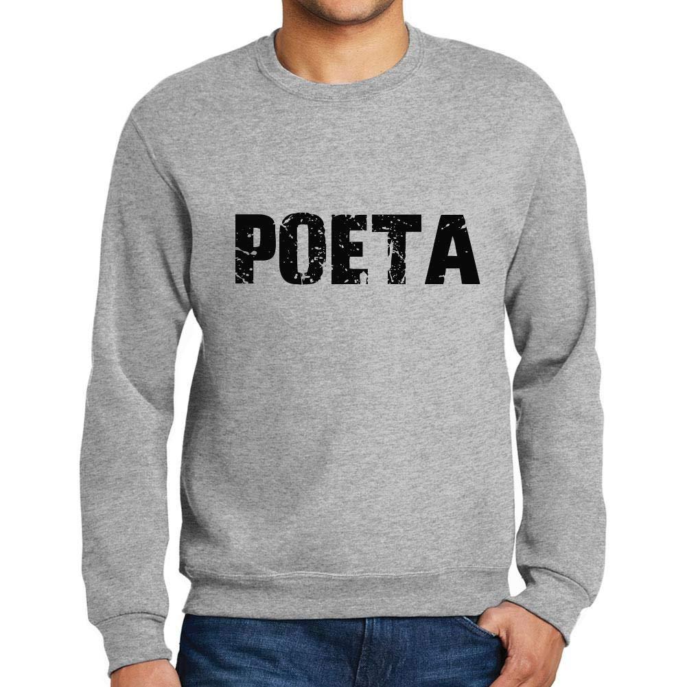 Ultrabasic Men/'s Printed Graphic Sweatshirt Popular Words POETA Grey Marl